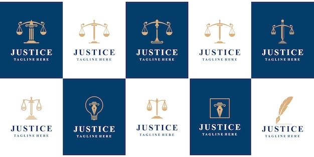 Insieme di marchio di diritto della giustizia.