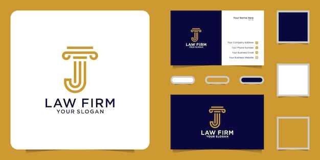 Design del logo justice con l'iniziale j e l'ispirazione per i biglietti da visita