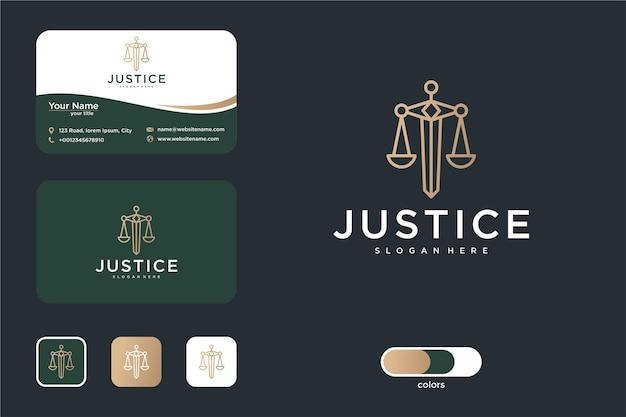 Design del logo della giustizia con a forma di spada e biglietto da visita