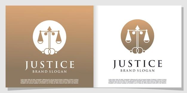 Logo della giustizia con un concetto unico creativo vettore premium