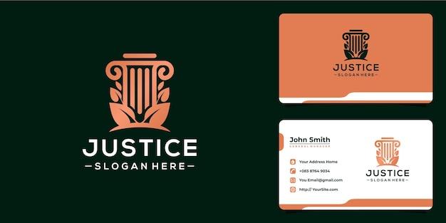 Justice lussuoso logo design e biglietto da visita