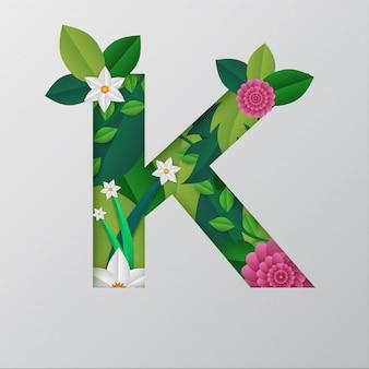 K alfabeto fatto da un bel disegno floreale.