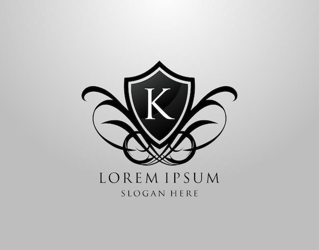 Marchio della lettera k. design vintage con scudo k.
