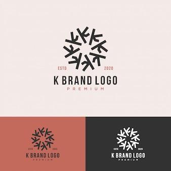 Cerchio con logo premium lettera k.
