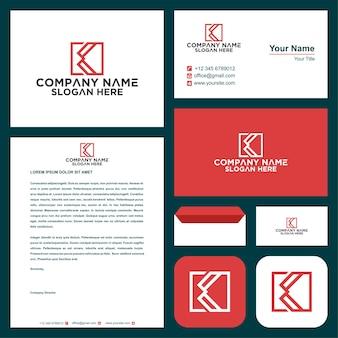 Combinazione di casella logo vettoriale lettera k e biglietto da visita