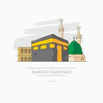 Illustrazione della mecca e della medina di kaaba