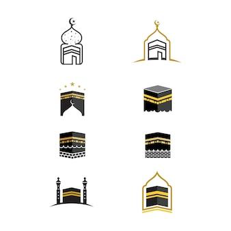 Modello di progettazione dell'icona dell'illustrazione di vettore di kaaba