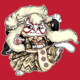 Illustrazione di kabuki cat