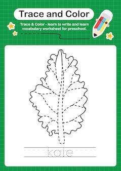 Traccia di cavolo e foglio di lavoro prescolare a colori per bambini che si esercitano nella scrittura e nel disegno