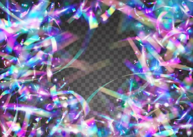 Coriandoli caleidoscopio. bagliore iridescente. contesto di carnevale della discoteca. foglio di fascino. scintille di luce. arte digitale. volantino lucido. sfondo di metallo viola. coriandoli caleidoscopio blu