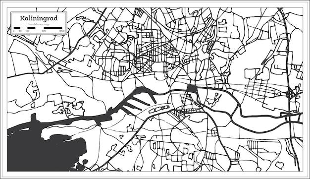 Mappa della città di kaliningrad russia in stile retrò. mappa di contorno. illustrazione di vettore.