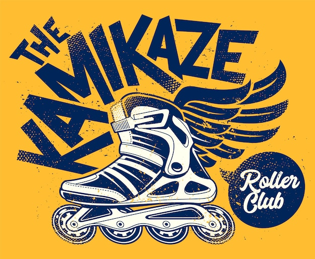 Kamikaze rolling club grunge con pattino a rotelle alato. design grunge sporco.