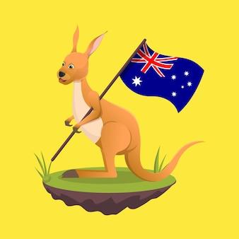 Canguro che porta la bandiera dell'australia