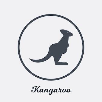 Disegno dell'icona piatto di canguro, elemento simbolo del logo