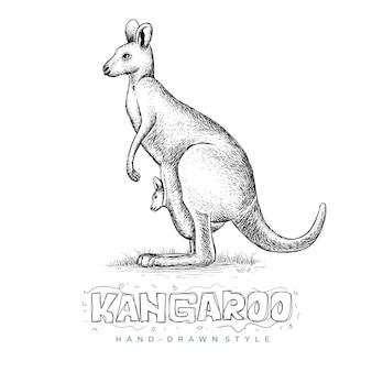 Canguro che tiene il suo bambino, un'illustrazione di un animale disegnato a mano