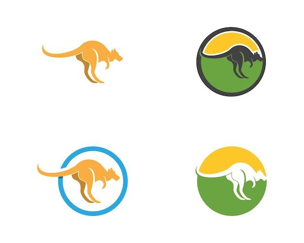 Modello di vettore di logo icona di canguro