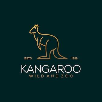 Modello di logo di lusso di kangaroo line art