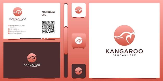 Canguro logo design ispirazione con biglietto da visita