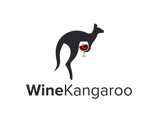Canguro con bicchiere di vino rosso spazio negativo semplice elegante design creativo moderno logo