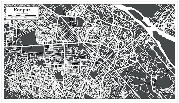 Mappa della città di kanpur india in stile retrò. mappa di contorno. illustrazione di vettore.