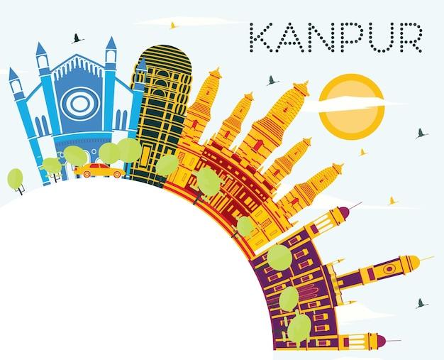 Orizzonte della città di kanpur india con edifici di colore, cielo blu e spazio di copia