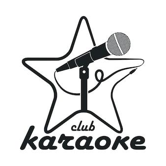 Club di karaoke. logo di design con microfono su supporto e stella. modello di vettore per emblema.