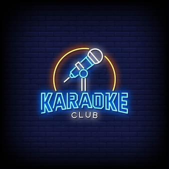 Karaoke club logo insegne al neon in stile testo