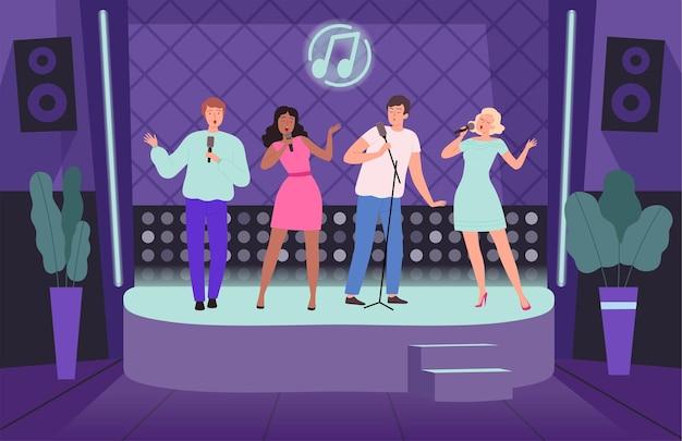 Club di karaoke. performance concerto persone adulte gruppo di cantanti sulle illustrazioni di sfondo discoteca vettore palcoscenico musicale. musica da club di karaoke, intrattenimento con esibizioni al microfono