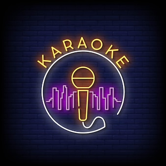 Karaoke insegne al neon stile testo vettoriale