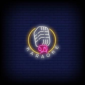Testo di stile di insegne al neon di karaoke