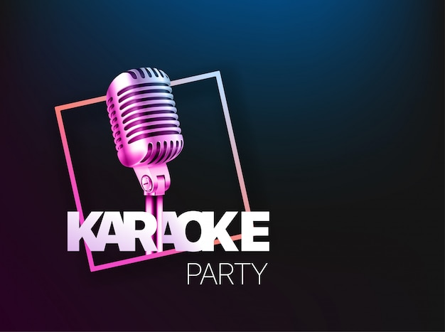 Layout del banner festa karaoke. Vettore Premium