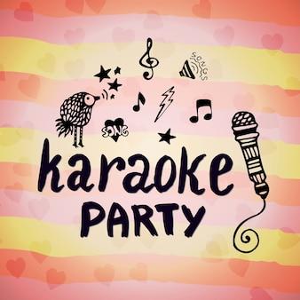 Partito di karaoke. scheda creativa di musica con elementi di doodle. vector vettoriale disegnato lettering