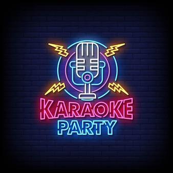Karaoke party insegne al neon stile testo vector