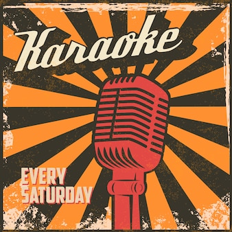 Poster vintage di karaoke. elemento in.