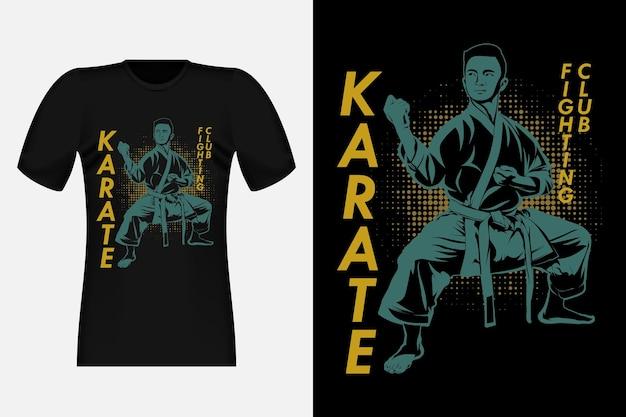 Karate fighting club silhouette vintage t-shirt design