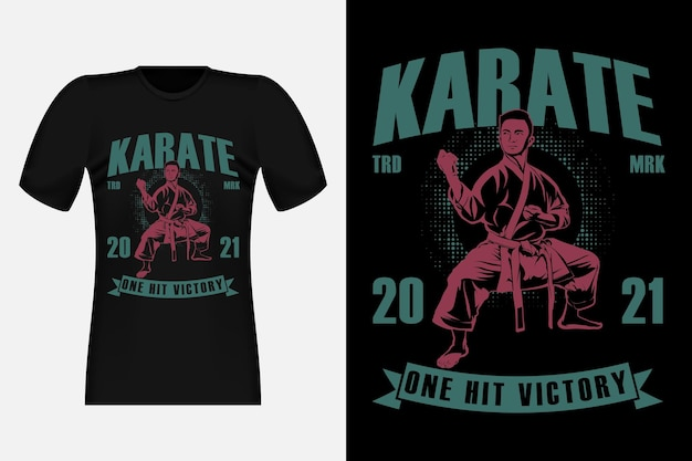 Karate one hit victory silhouette vintage t-shirt design