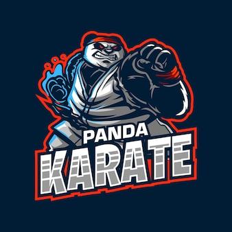 Fumetto del logo della mascotte del panda di karate