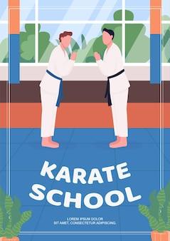 Modello piatto del manifesto della scuola di karate. corsi di autodifesa per bambini.