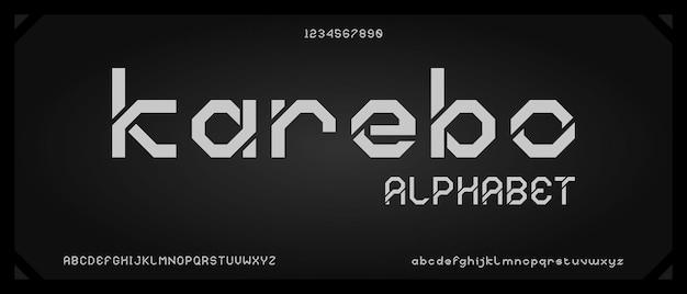 Karebo, carattere alfabeto moderno digitale con modello di stile urbano