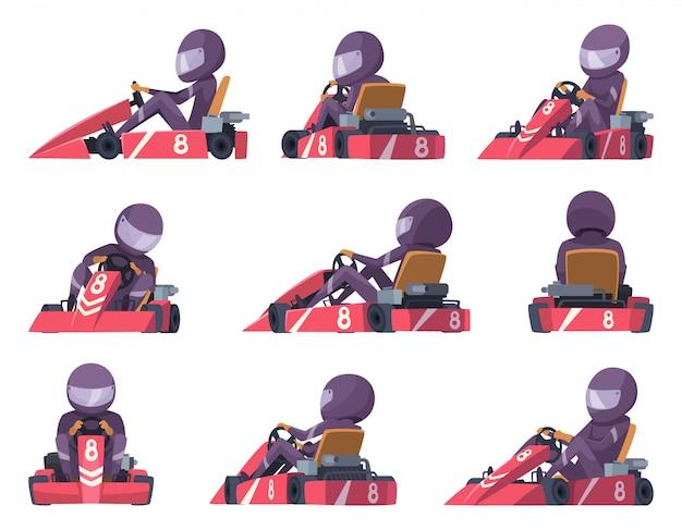 I piloti di kart. illustrazioni automobilistiche di kart della concorrenza delle automobili di velocità di sport