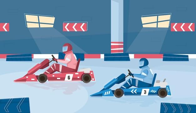 Sfondo di corse di kart con pista e attrezzatura piatta