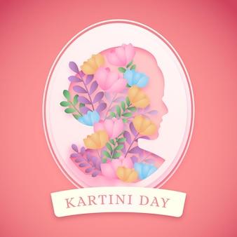 Illustrazione del giorno di kartini in stile carta