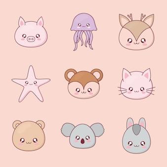 Insieme del fumetto animale kawaii di icone di design, espressione simpatico personaggio divertente e tema emoticon