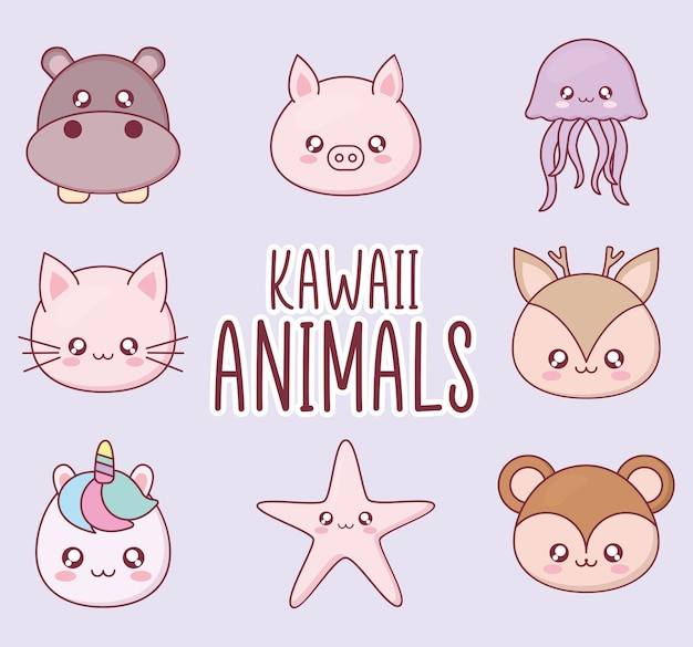 Set di simboli kawaii animali cartoon, espressione simpatico personaggio divertente e tema emoticon