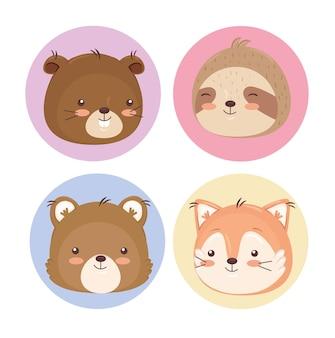 Illustrazione di raccolta di cartoni animati animali kawaii