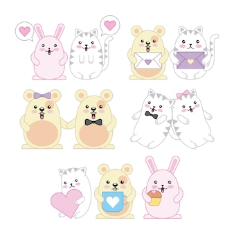 Animali kawaii mouse kitty gatto e coniglio cartone animato
