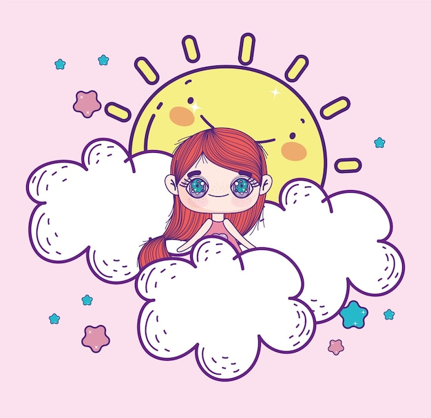 Ragazza anime kawaii sulle nuvole