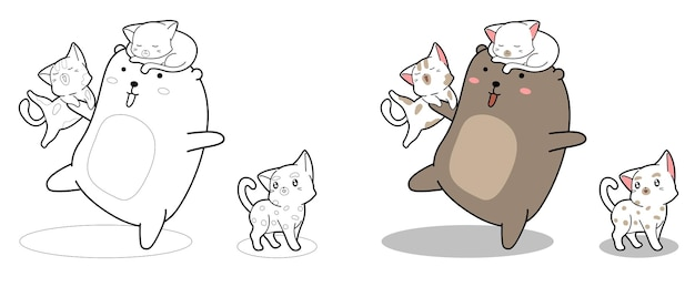 Pagina da colorare di cartoni animati orso e gatti kawaii