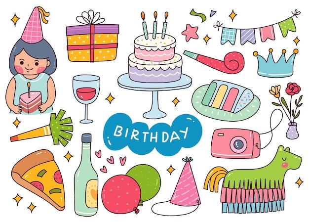 Kawaii compleanno celebrazione doodle illustrazione vettoriale