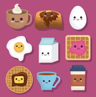 Icone relative al cibo per la colazione kawaii